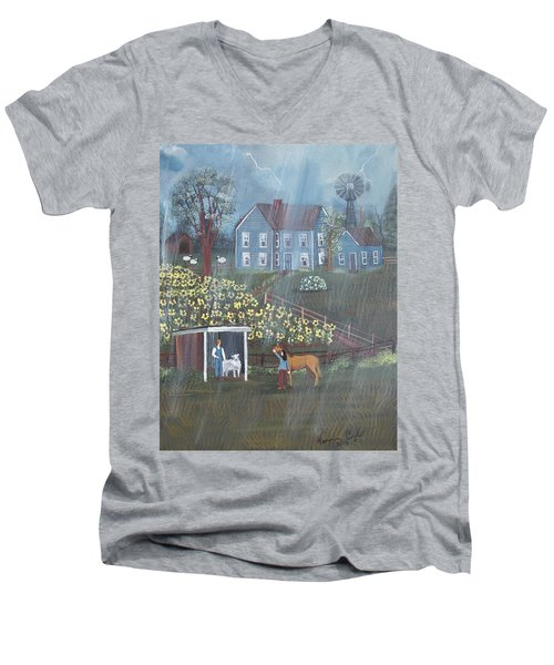 Men's V-Neck T-Shirt featuring the painting Summer Rain by Virginia Coyle