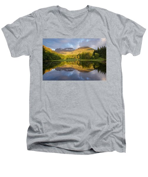 Summer Reflections At The Torren Lochan Men's V-Neck T-Shirt