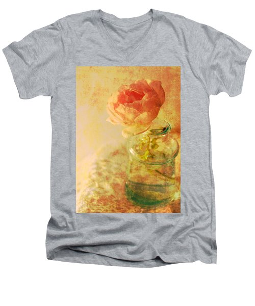 Summer Rose Men's V-Neck T-Shirt by Catherine Alfidi