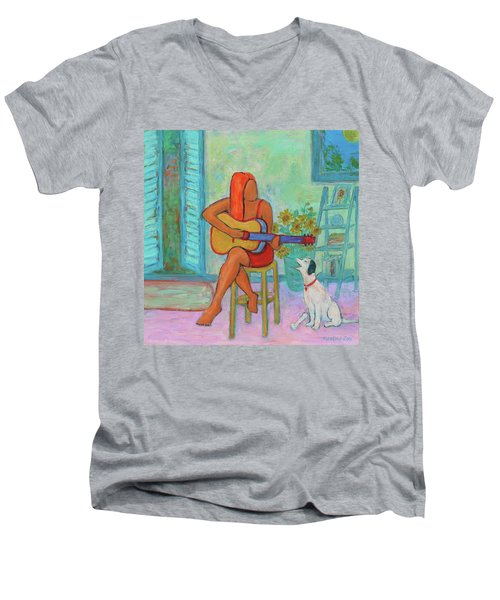 Men's V-Neck T-Shirt featuring the painting Summer Serenade II by Xueling Zou