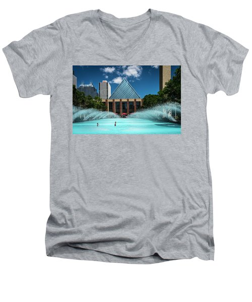 Men's V-Neck T-Shirt featuring the photograph Summer Splash Downtown Edmonton by Darcy Michaelchuk