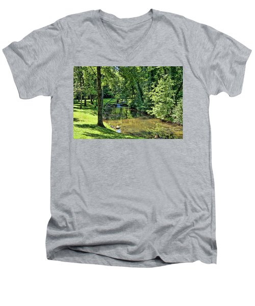 Men's V-Neck T-Shirt featuring the photograph Summer Stream by Cricket Hackmann