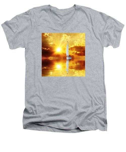 Summer Sun And Fun Men's V-Neck T-Shirt by Gabriella Weninger - David
