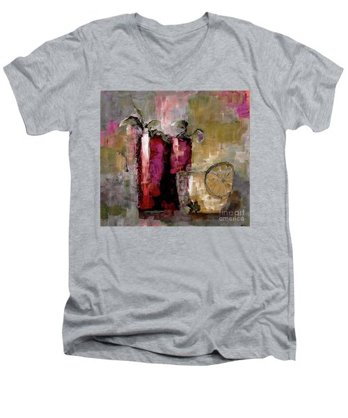 Summer Sunday Sangria With Lemon Water Infusion Painting Men's V-Neck T-Shirt