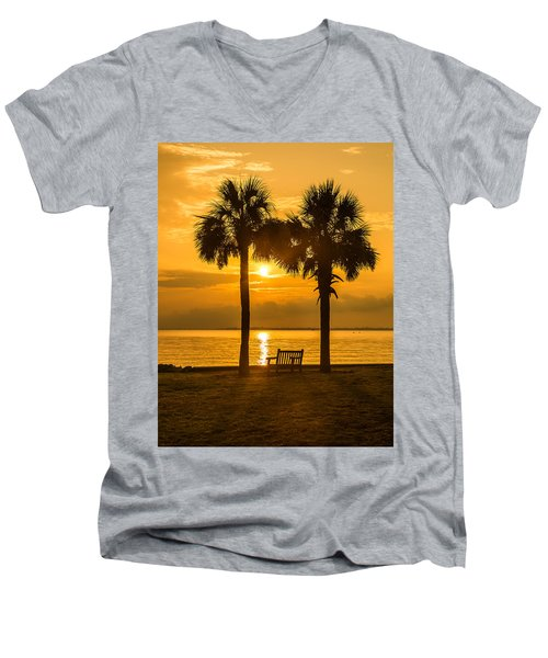 Men's V-Neck T-Shirt featuring the photograph Summer Sunrise - Charleston Sc by Donnie Whitaker