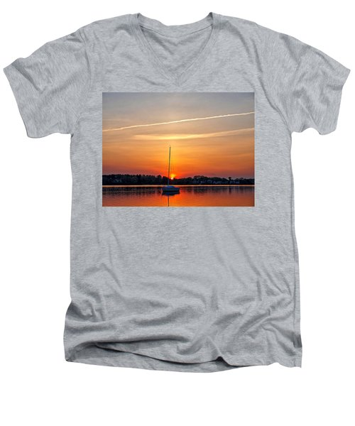 Summer Sunset At Anchor Men's V-Neck T-Shirt