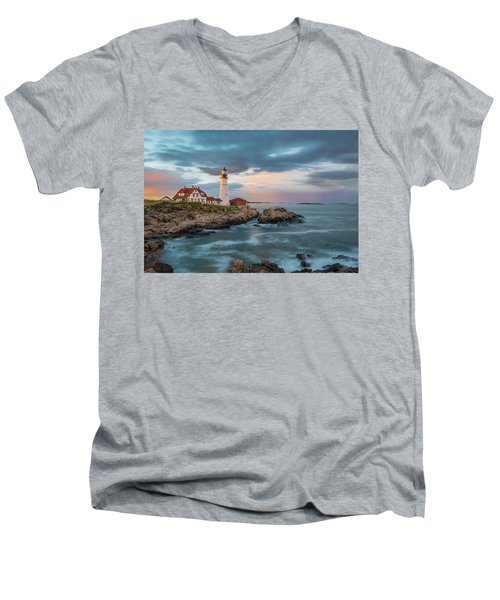 Summer Sunset At Portland Head Light Men's V-Neck T-Shirt
