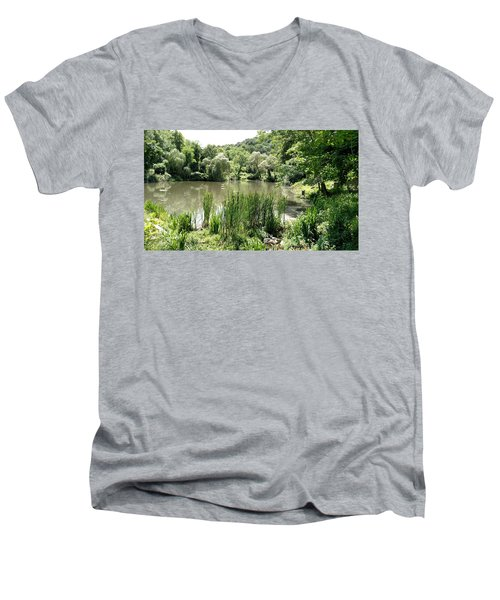 Men's V-Neck T-Shirt featuring the painting Summer Swamp by James Guentner