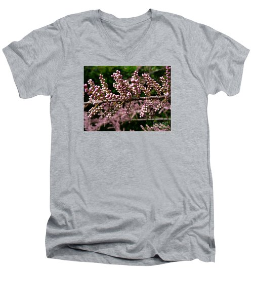 Men's V-Neck T-Shirt featuring the photograph Summer Tamarisk 2 by Jean Bernard Roussilhe