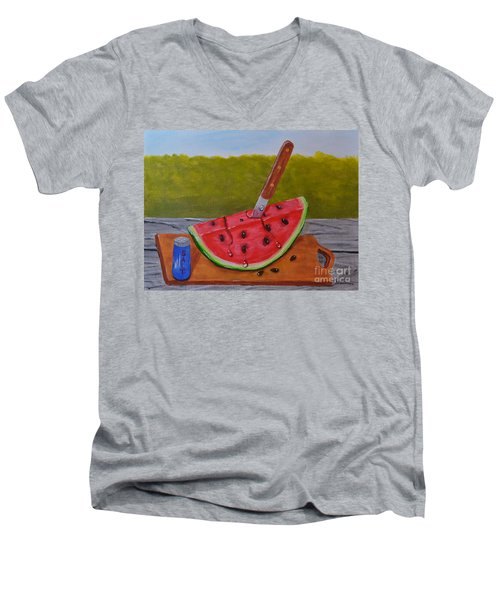 Men's V-Neck T-Shirt featuring the painting Summer Treat by Melvin Turner