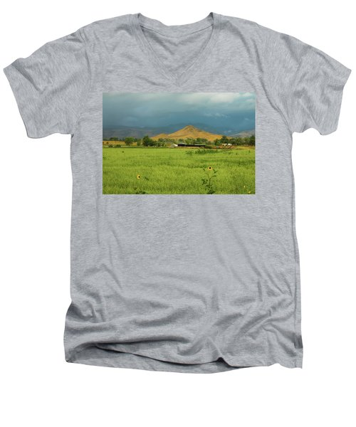 Men's V-Neck T-Shirt featuring the photograph Summer View Of  Hay Stack Mountain by James BO Insogna