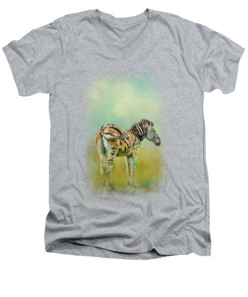 Summer Zebra 1 Men's V-Neck T-Shirt by Jai Johnson