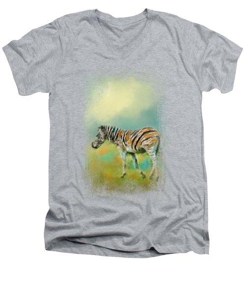 Summer Zebra 2 Men's V-Neck T-Shirt by Jai Johnson