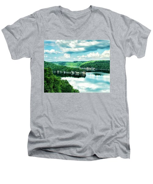 Men's V-Neck T-Shirt featuring the photograph Summertime At Long Point by Mark Allen