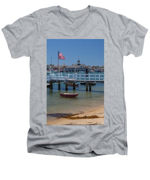 Summertime In  Newport Beach Harbor Men's V-Neck T-Shirt