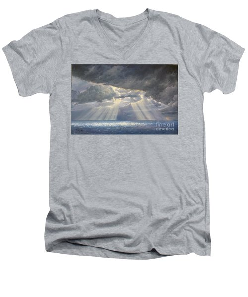 Men's V-Neck T-Shirt featuring the painting Storm Subsides by Rosario Piazza