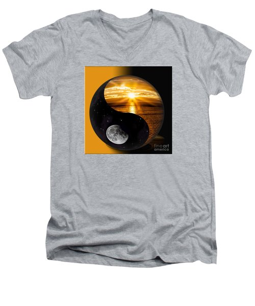 Men's V-Neck T-Shirt featuring the photograph Sun And Moon - Yin And Yang by Shirley Mangini