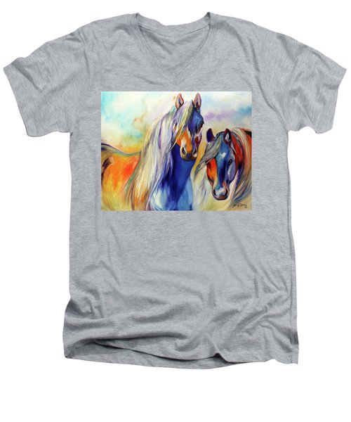 Sun And Shadow Equine Abstract Men's V-Neck T-Shirt