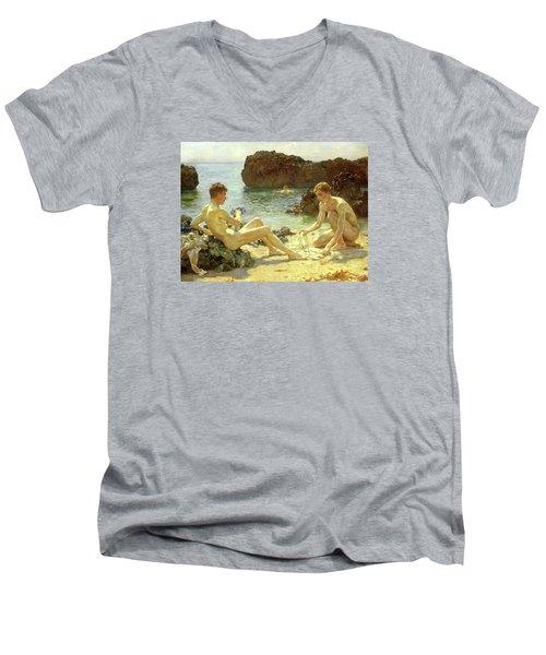 Sun Bathers Men's V-Neck T-Shirt by Henry Scott Tuke