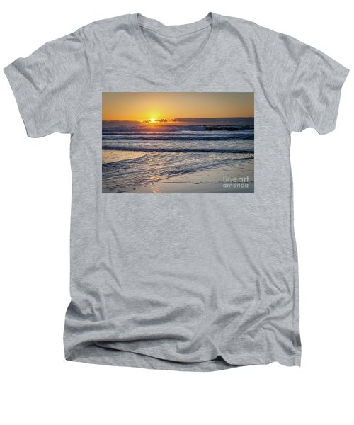 Sun Behind Clouds With Beach And Waves In The Foreground Men's V-Neck T-Shirt