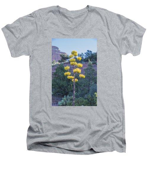 Men's V-Neck T-Shirt featuring the photograph Sun Brightened Century Plant by Laura Pratt