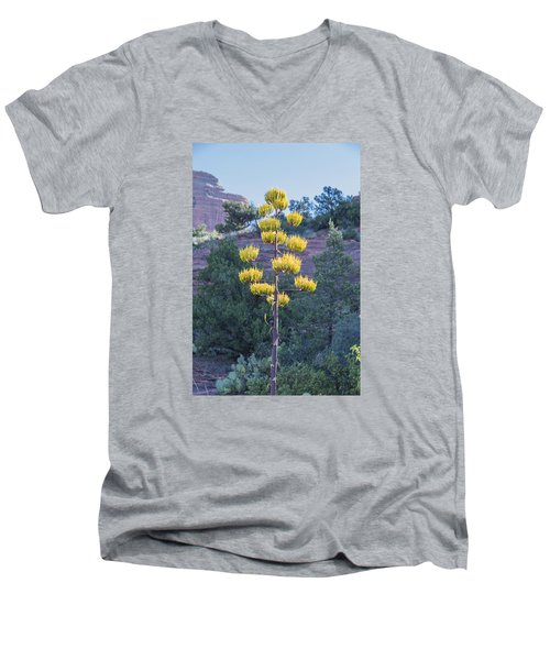 Sun Brightened Century Plant Men's V-Neck T-Shirt