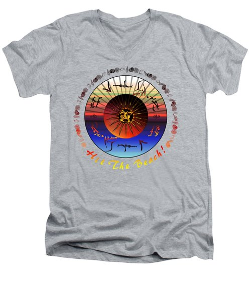 Men's V-Neck T-Shirt featuring the drawing Sun Face Stylized by Robert  G Kernodle