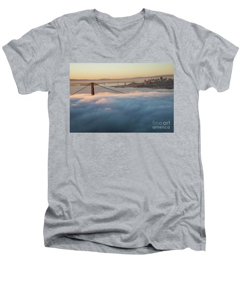 Men's V-Neck T-Shirt featuring the photograph Sun Rise At Golden Gate Bridge by David Bearden