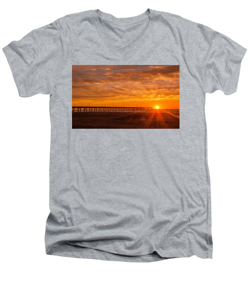Sun Rising At Port Aransas Pier Men's V-Neck T-Shirt
