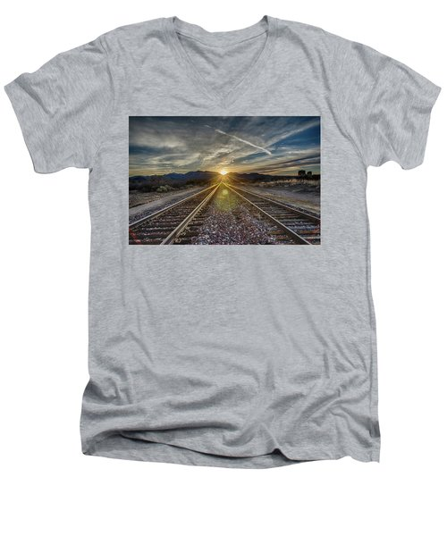 Sun Sets At The End Of The Line Men's V-Neck T-Shirt