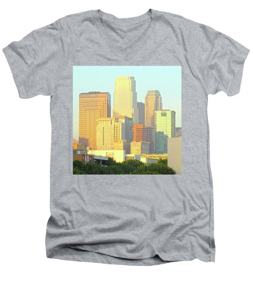 Sun Sets On Downtown Los Angeles Buildings #2 Men's V-Neck T-Shirt