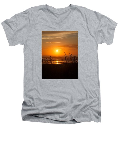 Men's V-Neck T-Shirt featuring the photograph Sun Setting 2 by Adria Trail