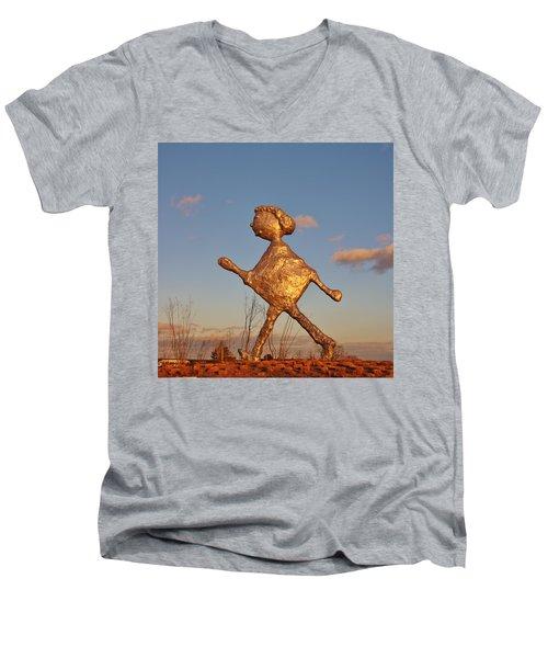 Sun Setting On Walking Figure Men's V-Neck T-Shirt