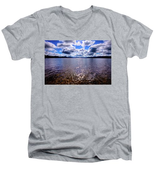 Men's V-Neck T-Shirt featuring the photograph Sun Shining Over Palmer Point by David Patterson