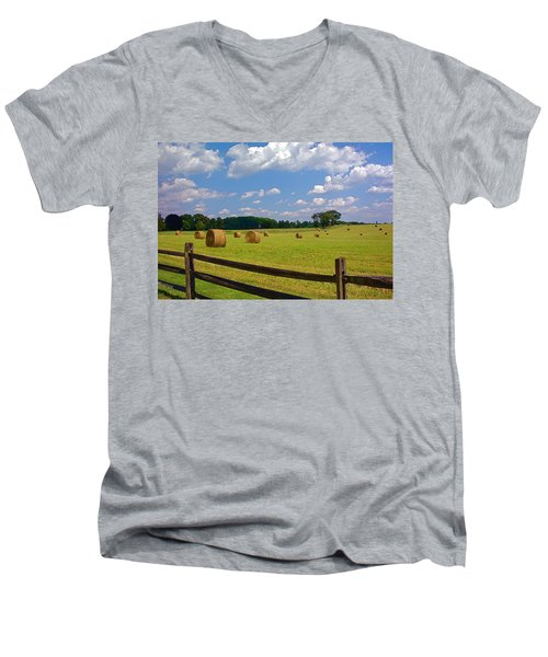Men's V-Neck T-Shirt featuring the photograph Sun Shone Hay Made by Byron Varvarigos