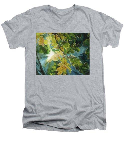 Sun Through Oak Leaves Men's V-Neck T-Shirt