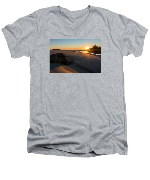 Sun Up Good Harbor Men's V-Neck T-Shirt by Michael Hubley