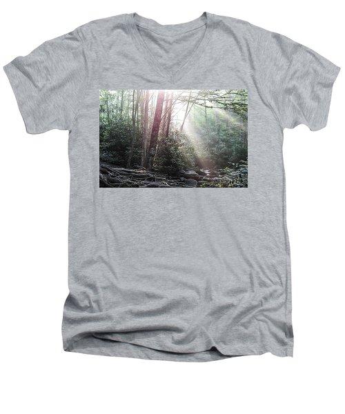 Sunbeam Streaming Into The Forest Men's V-Neck T-Shirt