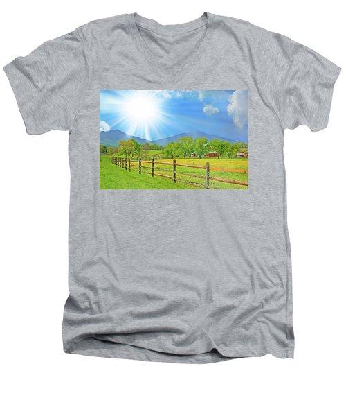 Sunburst Over Peaks Of Otter, Virginia Men's V-Neck T-Shirt by The American Shutterbug Society