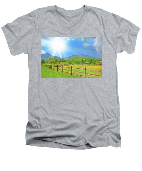 Sunburst Over Peaks Of Otter, Virginia Men's V-Neck T-Shirt