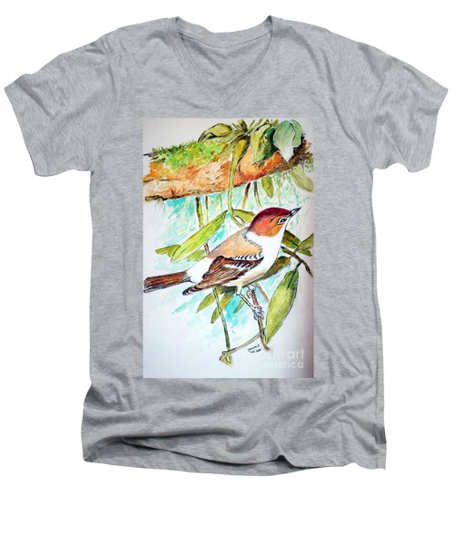 Sunda Flycatcher- Warbler Men's V-Neck T-Shirt