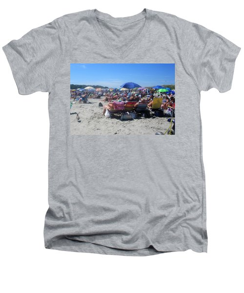 Sunday At The Beach Men's V-Neck T-Shirt by Paul Meinerth
