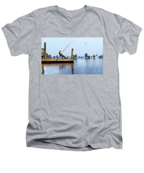 Sunday Fisherman Men's V-Neck T-Shirt by Deborah Smith
