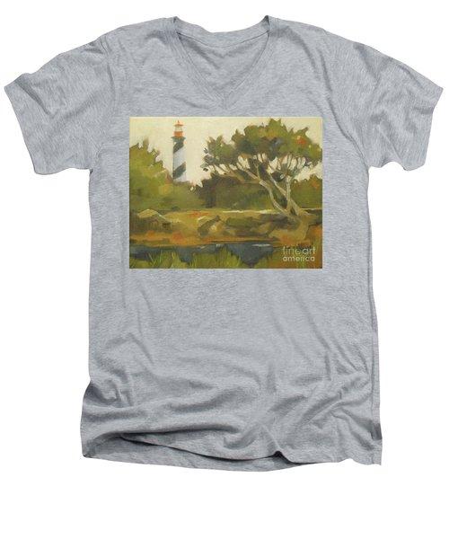 Sunday Lighthouse Men's V-Neck T-Shirt by Mary Hubley