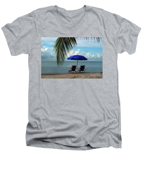 Sunday Morning At The Beach In Key West Men's V-Neck T-Shirt