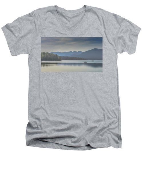Men's V-Neck T-Shirt featuring the photograph Sunday Morning Fishing by Chris Lord