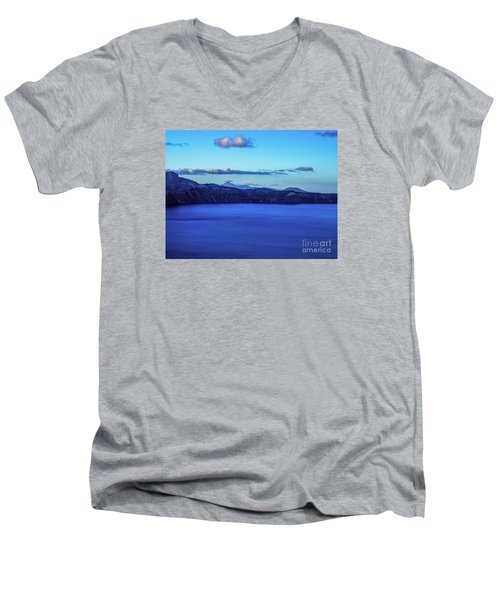 Men's V-Neck T-Shirt featuring the photograph Sundown At Crater Lake by Nancy Marie Ricketts