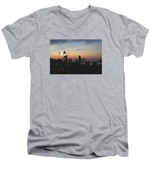 Men's V-Neck T-Shirt featuring the photograph Sundown At The Harbor by Margie Avellino