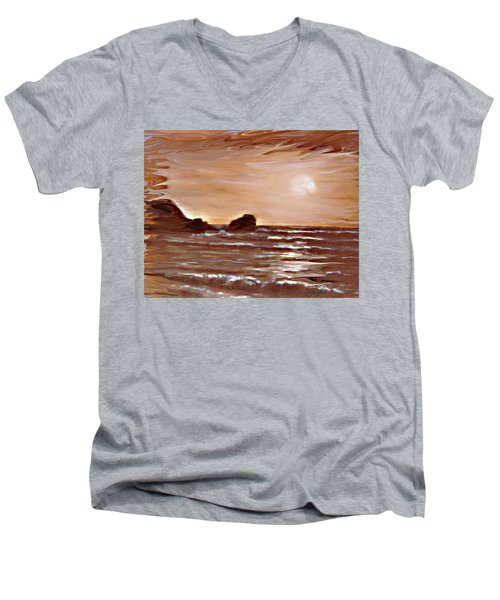 Men's V-Neck T-Shirt featuring the painting Sundown Glow by Desline Vitto