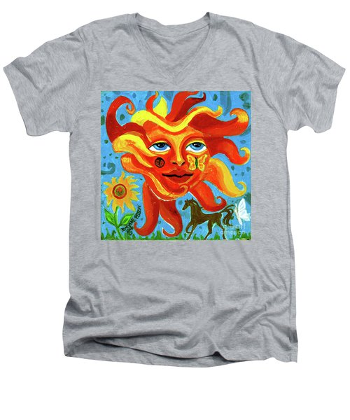 Men's V-Neck T-Shirt featuring the painting Sunface With Butterfly And Horse by Genevieve Esson